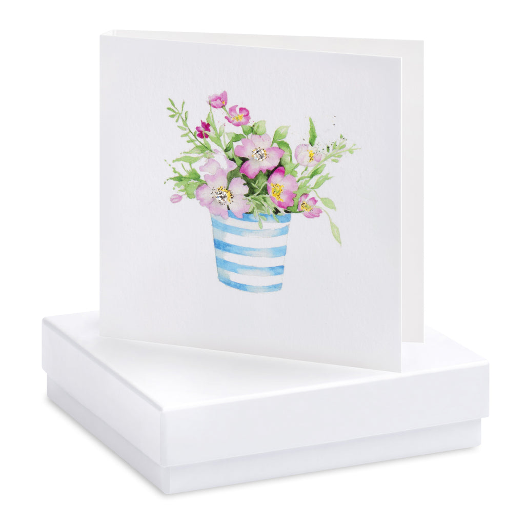 Boxed Stripey Pot Silver Earring Card