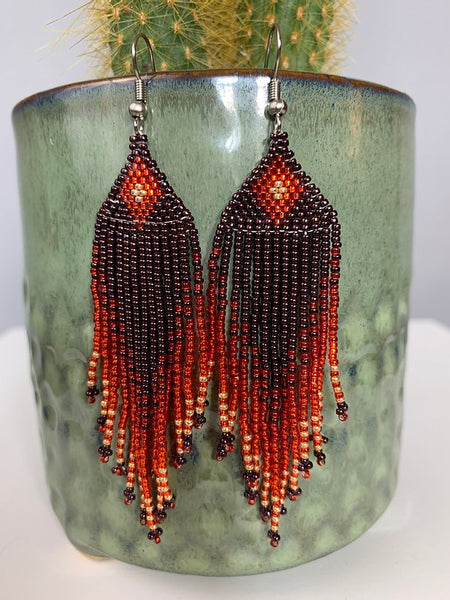 Metallic Burgundy Red Orange & Gold Beaded Earrings