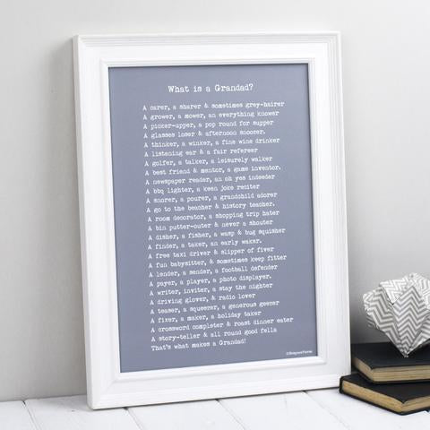Grandfather Poem Print