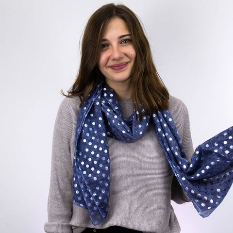 Washed Denim Blue Scarf With Metallic Silver Polka Dot Print