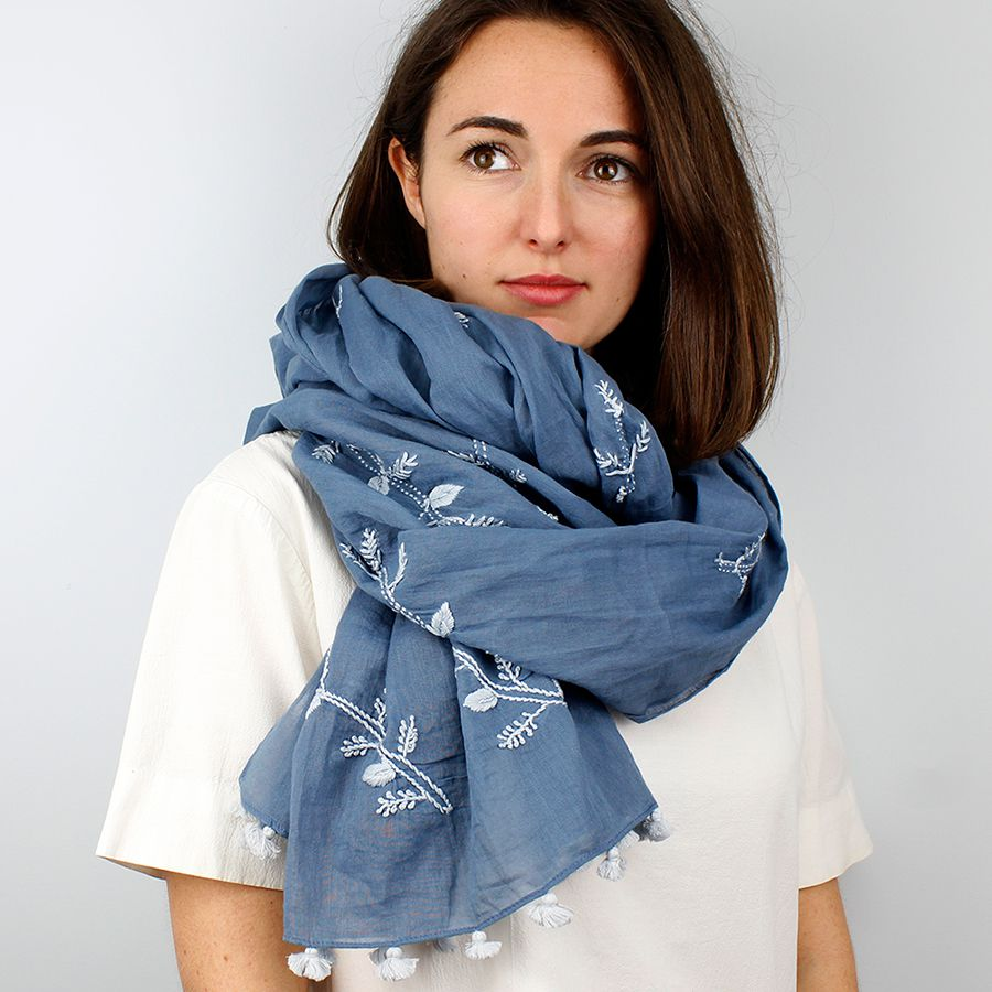 Blue Cotton Hand Embroidered Tassel Scarf