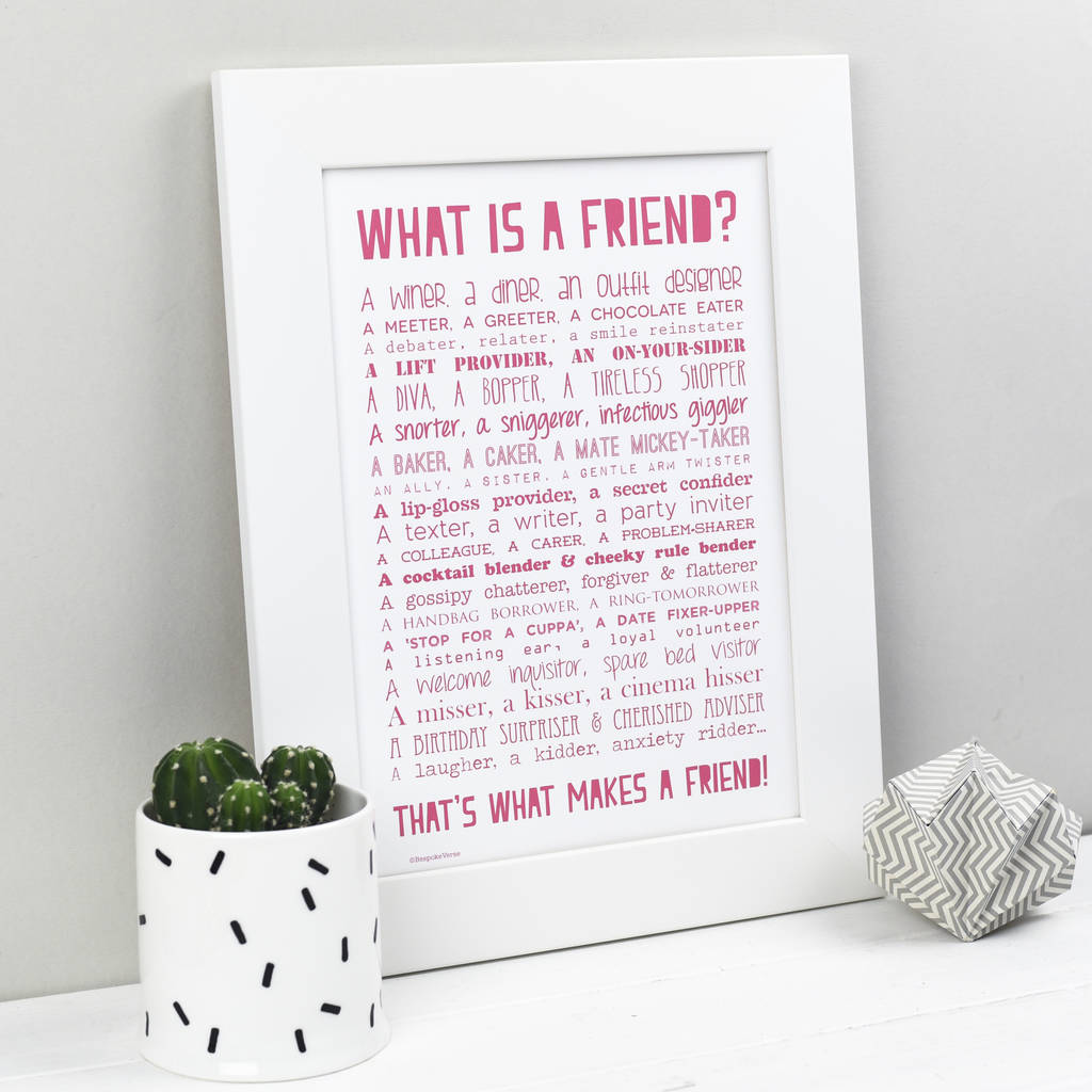 What Is A Friend Poem Print Pink