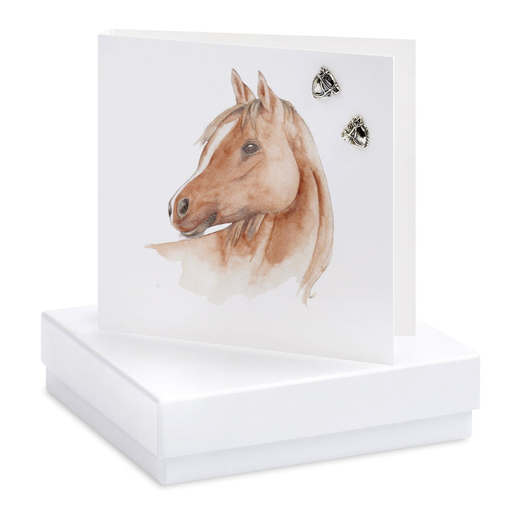 Boxed Horse Silver Earring Card
