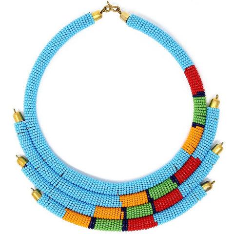 Turquoise Isolo Beaded Maasai Necklace