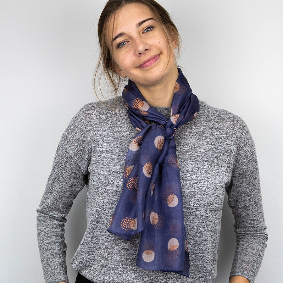 Blue Grey And Copper Spotted Hand Printed Silk Scarf