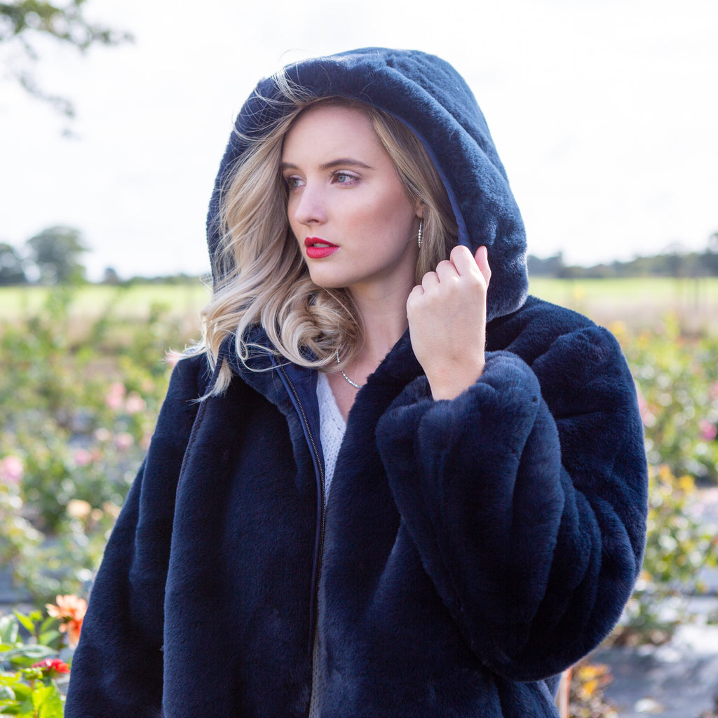 Blue Navy Faux Fur Jacket