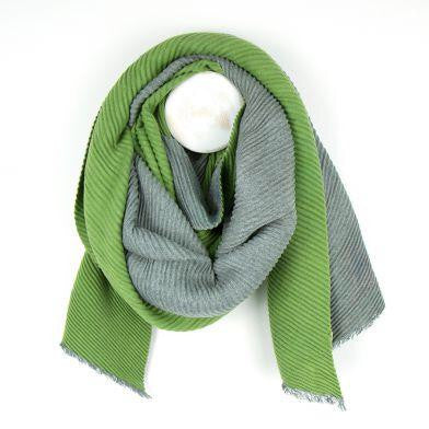 Lime And Grey Pleated Reversible Scarf
