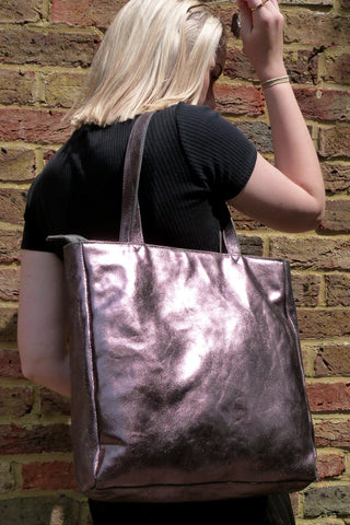 Tote Bag Metallic Pewter