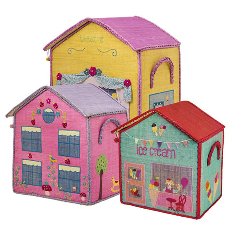 Medium Pink House Toy Storage Basket