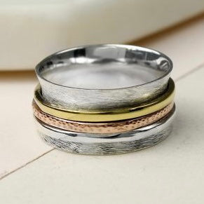 Sterling Silver Brushed Spinning Ring With Triple Bands