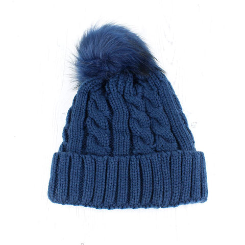 Blue Navy Cable Knit Faux Fur Bobble Hat