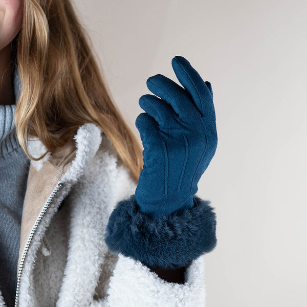Teal Suede Gloves With Faux Fur Trim