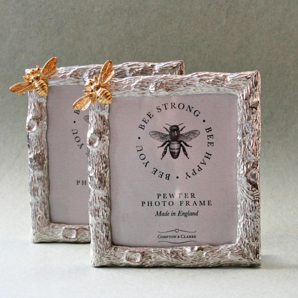 Bee Happy Pewter Photo Frame With Golden Bee
