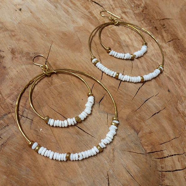 Large Double Hoop Recycled Glass Hippy Chic Earrings