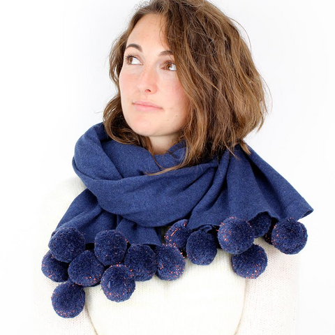 Blue Wrap Scarf With Copper Tinted Pom Poms