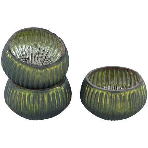 Green Ribbed Mini T Light Holder