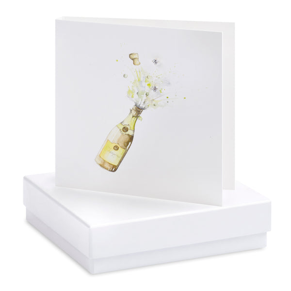 Boxed Champagne Silver Earring Card