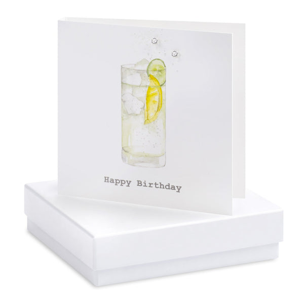 Boxed G&T Happy Birthday Silver Earring Card