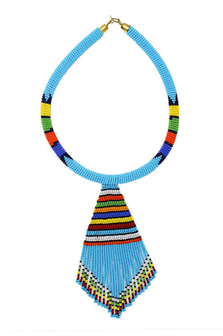 Turquoise Nala Beaded Maasai Necklace