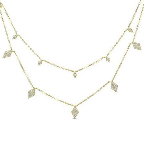 Silver Diamond Multi Chain Necklace