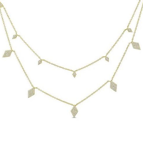 Gold Diamond Multi Chain Necklace