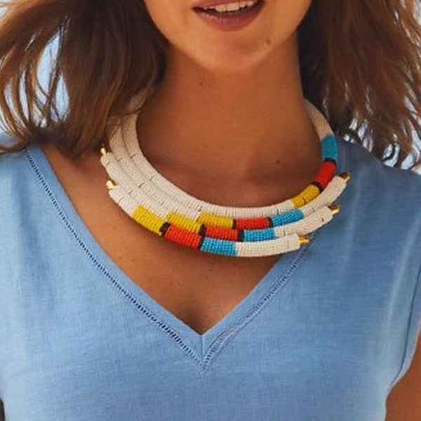 White Isolo Beaded Maasai Necklace