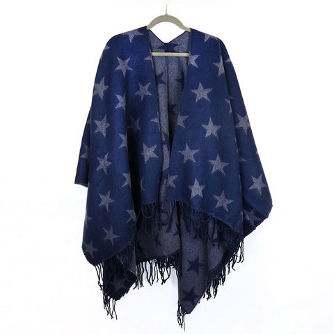 Blue & Grey Reversible Star Poncho