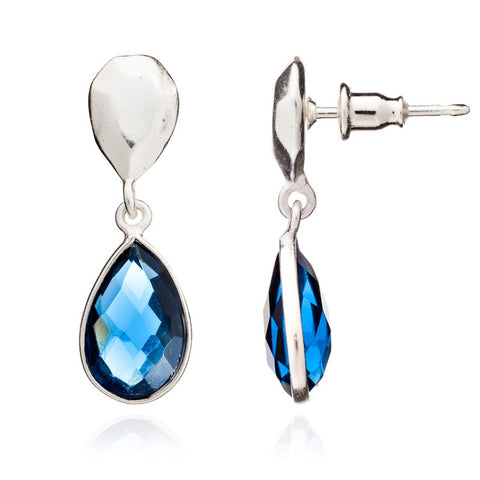 Blue Iolite Silver Drop Althai Earrings