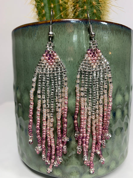 Blush Pink & Silver Beaded Earrings
