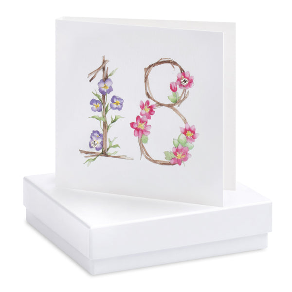 Boxed Happy 18th Birthday Silver Earring Card