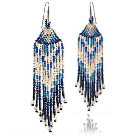 Blue Midnight Amalia Chevron Earrings