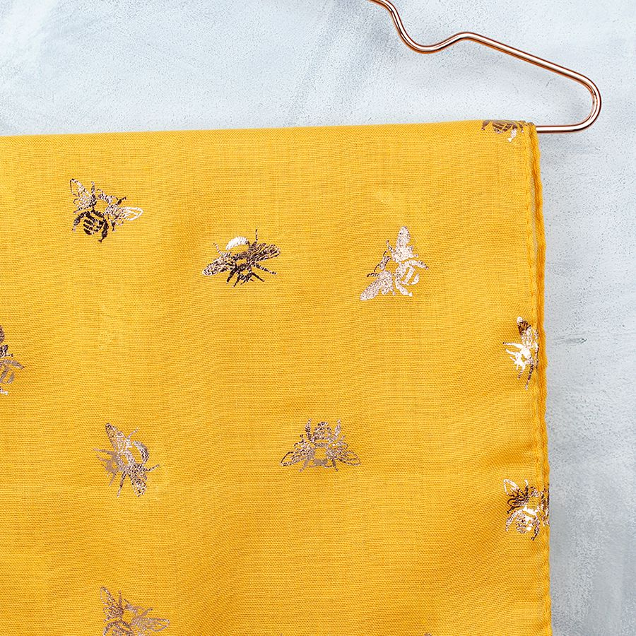 Yellow & Rose Gold Bee Print Scarf