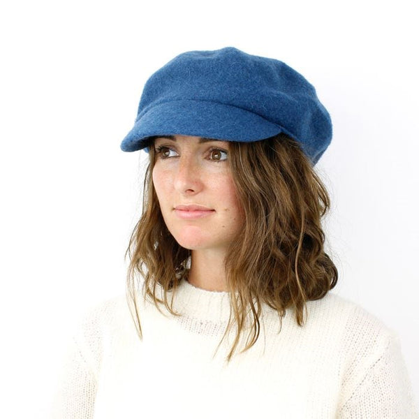 Blue Wool Baker Boy Winter Hat