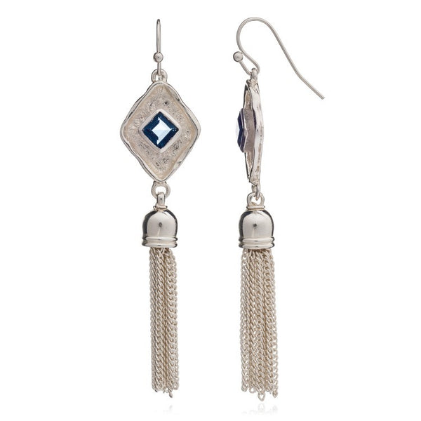 Blue Iolite Silver Diamond Tassel Earrings