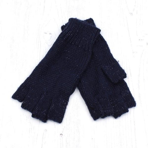 Blue Midnight Fingerless Gloves With Metallic Thread