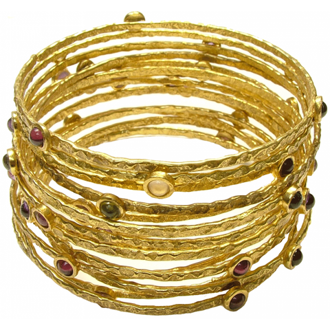 Gold Plated Lapis Lazuli Stacking Bangle