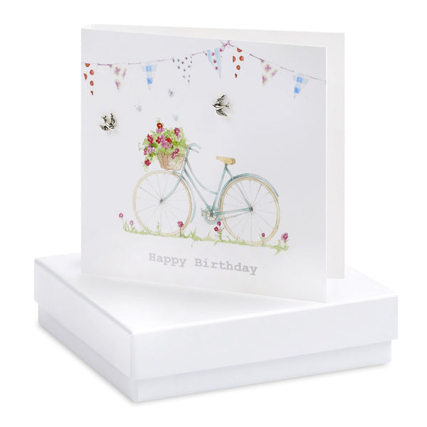 Boxed Bicycle & Bunting Birthday Silver Earring Card