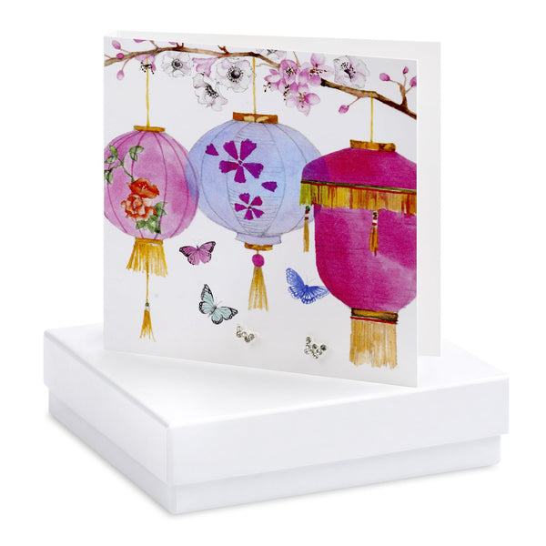 Boxed Butterflies & Lanterns Silver Earring Card