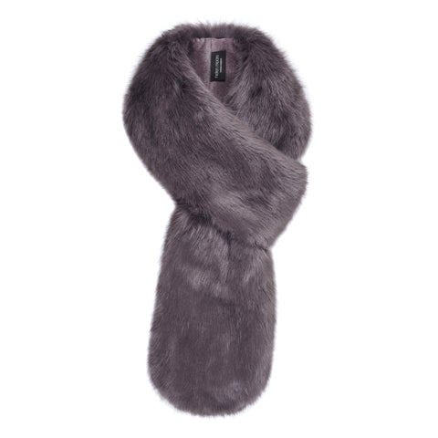 Grey Steel Faux Fur Loop Scarf