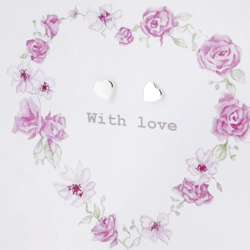 Boxed Floral Heart Wreath Silver Earring Card