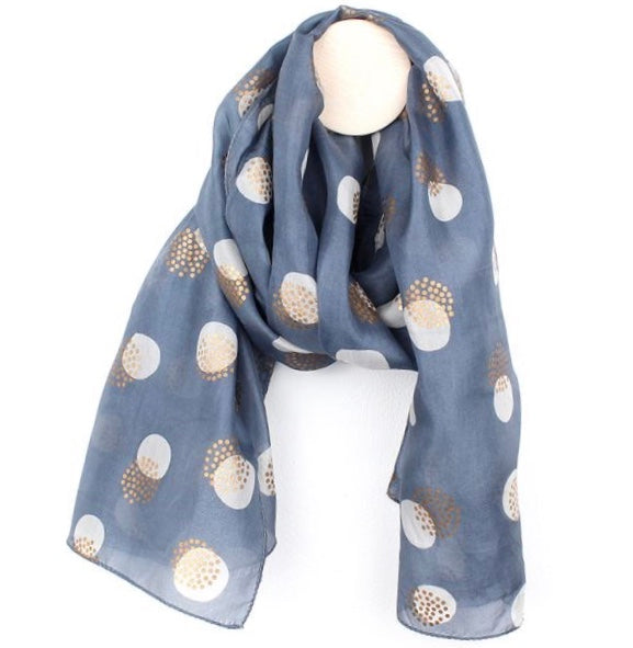 Blue Grey And Gold Spotted Hand Printed Silk Scarf