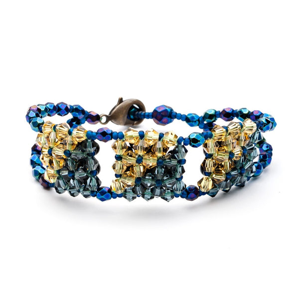 Blue Midnight Cubo Beaded Crystal Bracelet