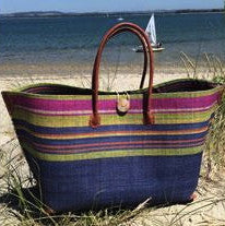 Blue Striped Raffia Beach Basket