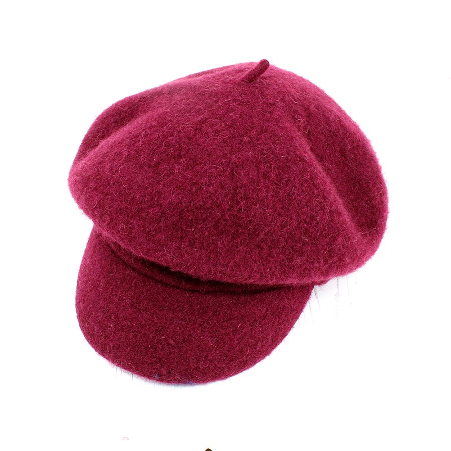 Dark Cerise Wool Baker Boy Winter Hat