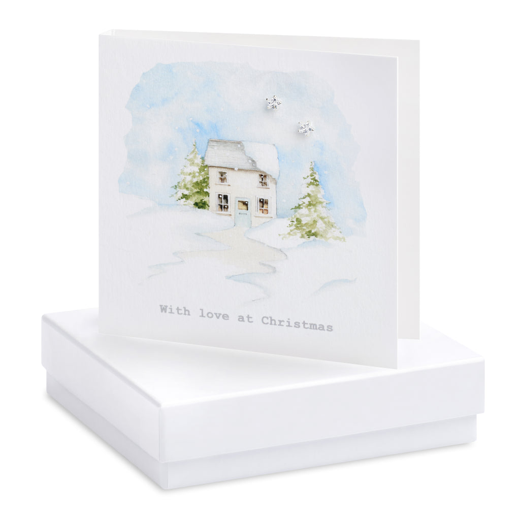 Boxed Christmas House Silver Earring Card