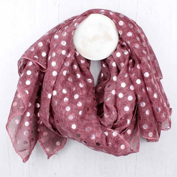 Washed Pink Scarf With Metallic Polka Dot Print