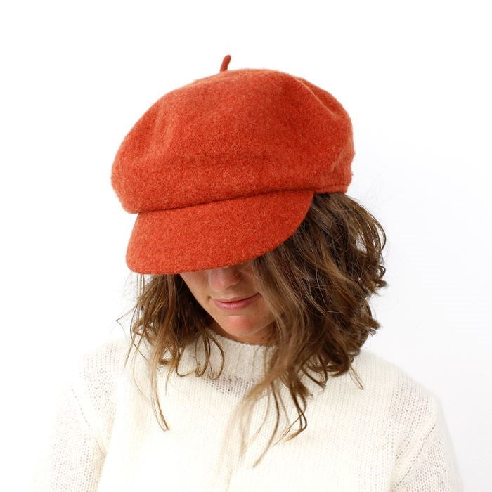 Burnt Orange Wool Baker Boy Winter Hat