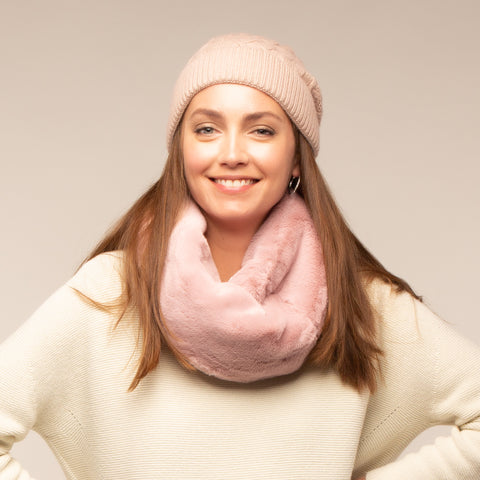 Pink Dusky Suzi Faux Fur Snood