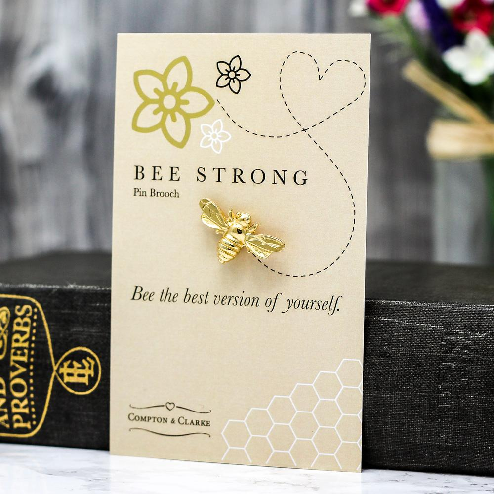 Bee Strong Gold Plated Brooch