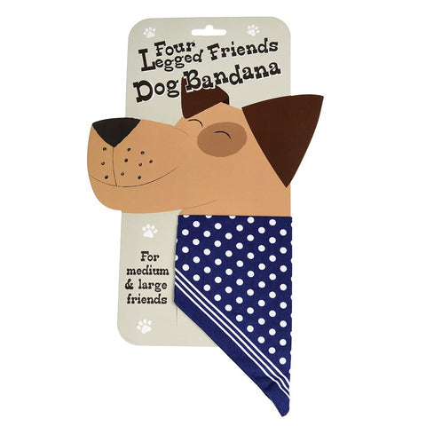 Large Blue Polka Dot Dog Bandana
